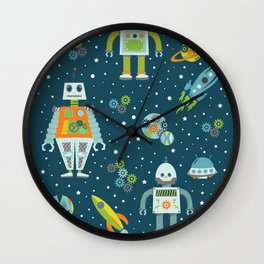 Robots in Space - Blue + Green Wall Clock
