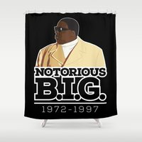 christopher walken Shower Curtains featuring Christopher 'Notorious B.I.G.' Wallace by Chad Trutt