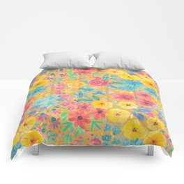 Floral watercolor pattern in yellow Comforters