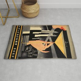 1930's Waldorf Astoria Hotel NYC The Starlight Roof, Champagne Wine Card Vintage Poster Rug