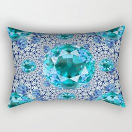 Aquamarine Gems Optical Pattern March Birthstone Art Rectangular Pillow