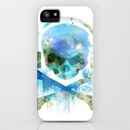 Watercolour Skull & Crossbones with Headphones. iPhone Case