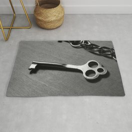 Old key and chain Rug
