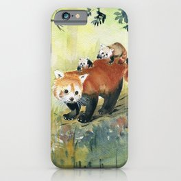 Red Panda Family iPhone Case