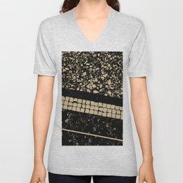 Terrazzo Pattern Black & Gold Sepia #1 #texture #decor #art #society6 Unisex V-Neck