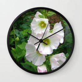 The White Hollyhock Wall Clock