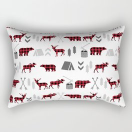Camping cabin life chalet all day plaid moose deer bear pattern outdoors nature lover Rectangular Pillow