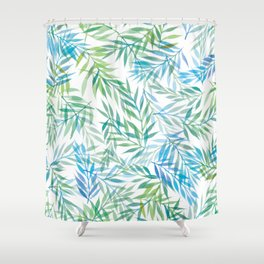 Watercolour Ferns | Blue Green Shower Curtain
