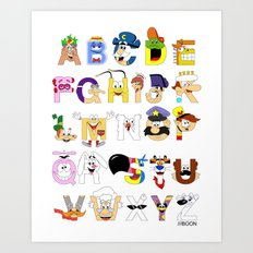 Breakfast Mascot Alphabet Art Print