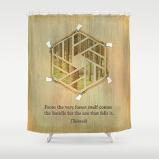 Forest & Axe — Illustrated Quote Shower Curtain