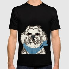 Shih Tzu Dog Art MEDIUM Black Mens Fitted Tee