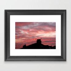 Winter sunset over London Framed Art Print