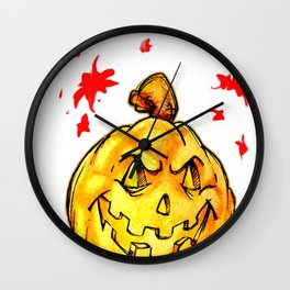 Scary pumpkim face Wall Clock