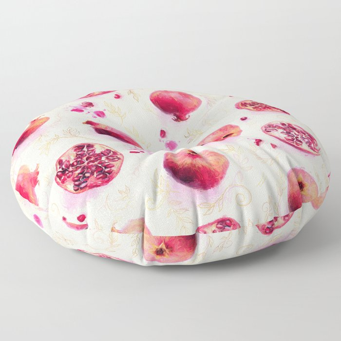 Painted Pomegranates with Gold Leaf Pattern Floor Pillow
