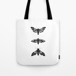 Lime Hawk Moths Night - Black Tote Bag