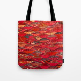V35 Red Traditional Moroccan Artwork Pattern Tote Bag