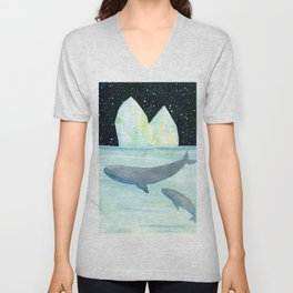 Cool whales on Antarctica Unisex V-Neck