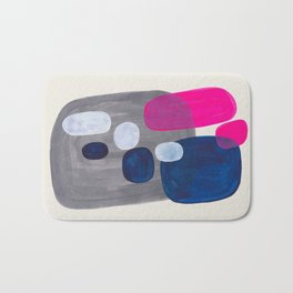 MidCentury Modern Abstract Minimalist Fun Colorful Shapes Navy Blue Magenta Grey Bubbles Retro Style Bath Mat