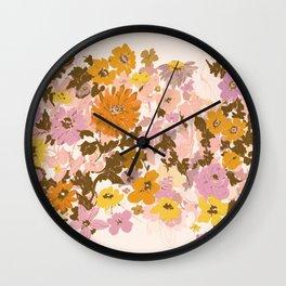 vintage wildflowers Wall Clock