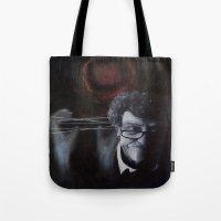 kurt vonnegut Tote Bags featuring Kurt Vonnegut by MucklowArt