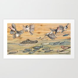 Swamp Life: Alligator and Chickadees Art Print