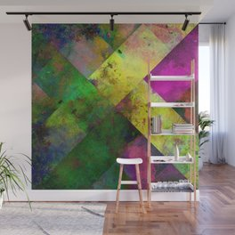 Dark Diamonds - Textured, patterned painting Wall Mural