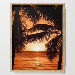 Perfect Palm Sunset (Color) Serving Tray