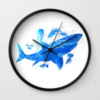 shark Wall Clocks featuring Shark by Corina Rivera Designs