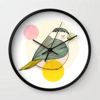 nan lawson Wall Clocks featuring Little Bird by Nan Lawson