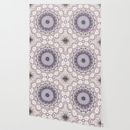 Bohemian White Detailed Mandala Design Wallpaper