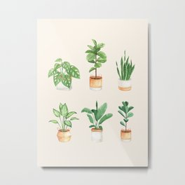 House Plants: Watercolor Edition Metal Print