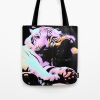 tigers Tote Bags featuring tigers by Emmy Winstead