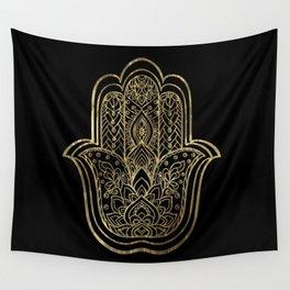 Lotus Gold Hamsa Hand Wall Tapestry