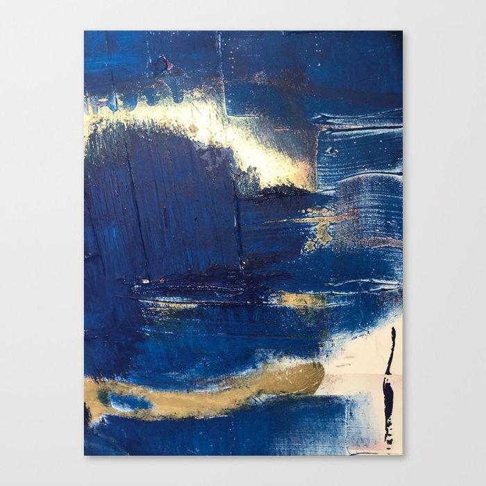 Halo [2]: a minimal, abstract mixed-media piece in blue and gold by Alyssa Hamilton Art Leinwanddruck