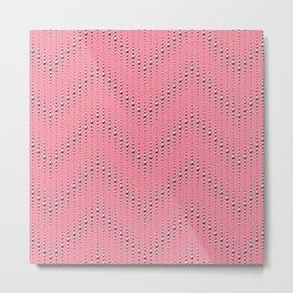 Studded Chevron Stripe on Coral Pink 1@50 Metal Print