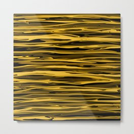Honey Yellow Abstract Drizzle Metal Print
