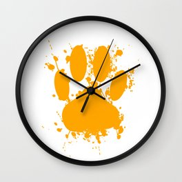 Orange Dog Paw Print With Paint Splatter Effect Wall Clock