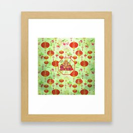 Watercolor Laughing Happy Buddha on Bagua Framed Art Print