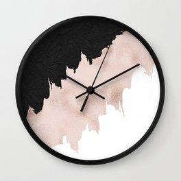Modern black lace pink rose gold brushstrokes Wall Clock