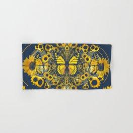 YELLOW MONARCH BUTTERFLY & GREY MODERN FLORAL ART Hand & Bath Towel