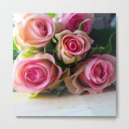 5 Pink Roses Metal Print