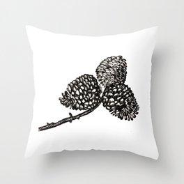 Pine Cone-Black & White Throw Pillow