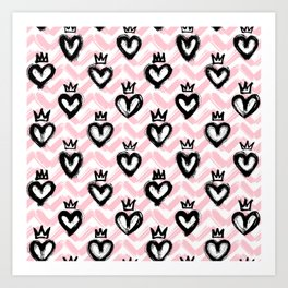 Hearts in crowns pattern / Pink Art Print