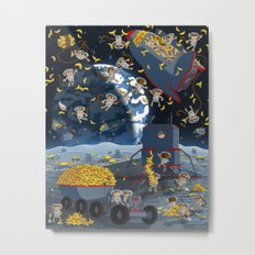 Space Monkeys Go Bananas! Metal Print