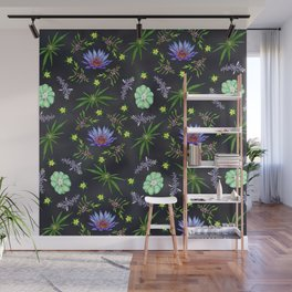 Smokeable Hallucinogenic Plants Pattern Wall Mural
