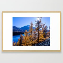 Scenic view of Silsersee above Sils in autumn. Engadin, Switzerland Framed Art Print