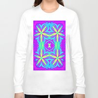 psychedelic art Long Sleeve T-shirts featuring psychedelic Floral Fuchsia Aqua by 2sweet4words Designs