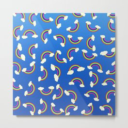 Cute and Colorful Rainbow Pattern on Blue Metal Print