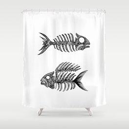 Original Artwork Fish Bone print, Abstract Ink Painting, Summer Home Decor, Seasonal Art Gift Shower Curtain