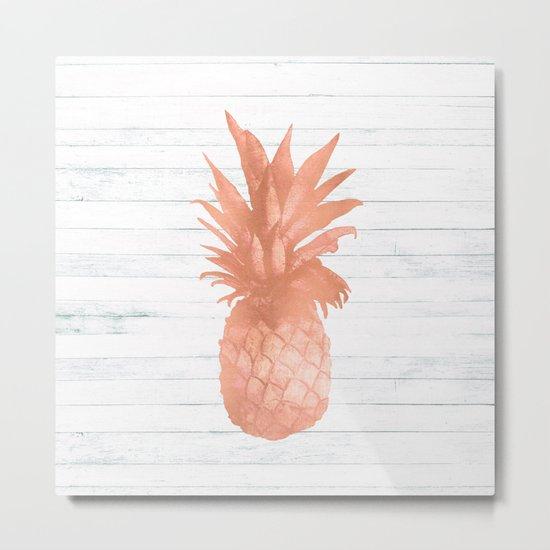 Rose Gold Pineapple on Wood Nautical Decor Metal Print
